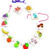 Collar De Frutas Y Animalitos En Madera